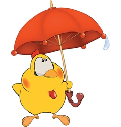 Chicken and an umbrella cartoon vector image
