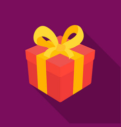 gift icon in flate style isolated on white vector image