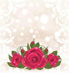Luxury card with bouquet of pink roses vector