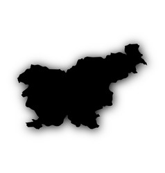 Map of slovenia with shadow vector