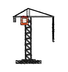 Color crayon stripe cartoon tall crane of building vector