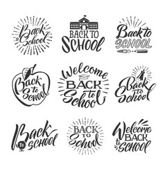 Back to school set of hand writing words and vector