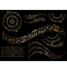 Gold musical design elements - set vector