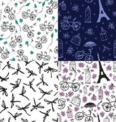Set of seamless patterns with flowers and bicycles vector
