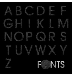 Finger print regular alphabet best font vector