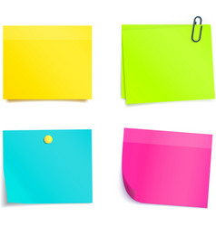 Four colorful sticky notes blank sheets vector