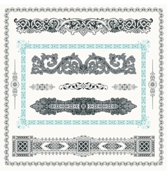Baroque set of vintage decor elements calligraphic vector