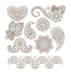 Indian floral ornaments mandala henna vector