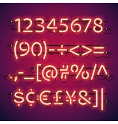 Glowing neon bar numbers vector