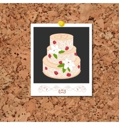 Corkboard with instant photo card and vector