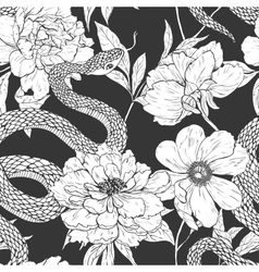 Snakes and flowers seamless pattern vector
