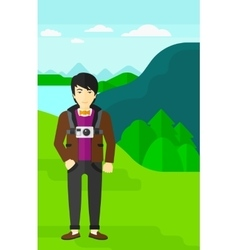 Man with camera on chest vector