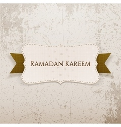 Ramadan kareem festive card with text and ribbon vector