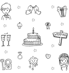 Element doodle wedding party vector image