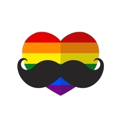 Rainbow flat heart with mustache vector image