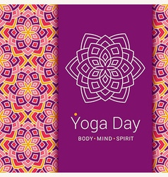 Indian yoga poster concept lotus flower symbol vector