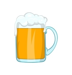 Mug of beer icon in cartoon style vector