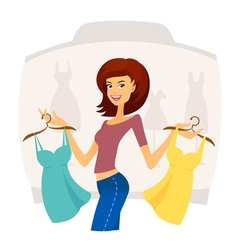 Fashion shopping girl on sales in shopping mall vector image