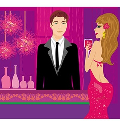 bartender at the club and beautiful woman vector image