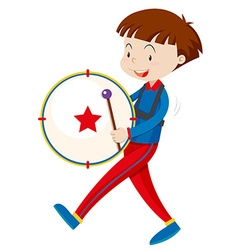Boy in band outfit playing drum vector image
