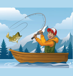 Cartoon of man fishing in boat vector