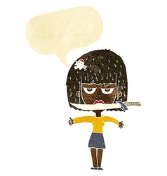 cartoon woman with knife between teeth with speech vector image vector image