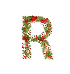 Christmas floral tree letter r vector