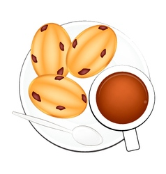 Coffee with Egg Cakes on White Background vector image