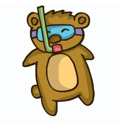 Cute cartoon beaver diving vector