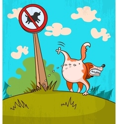 Dog wets the sign vector