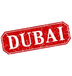 Dubai red square grunge retro style sign vector