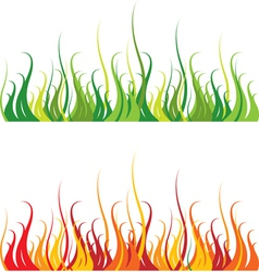 grass and fire vector image vector image
