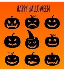 Halloween pumpkins set graphic template flat icons vector