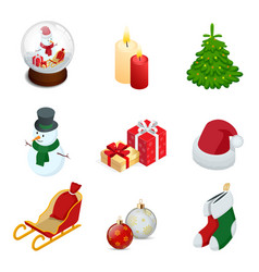 isometric set of christmas new year holiday vector image