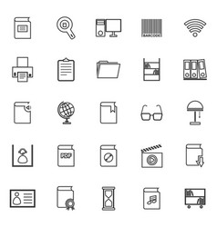 Library line icons on white background vector