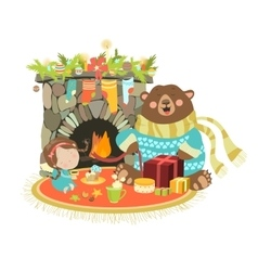 Little angel cute bear sitting near a fireplace vector image vector image