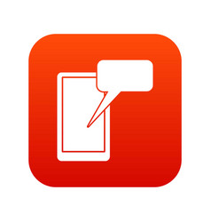 Mobile chatting icon digital red vector
