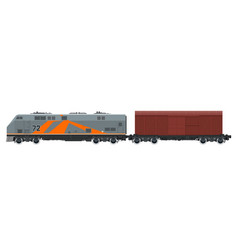 orange locomotive with closed wagon isolated vector image vector image