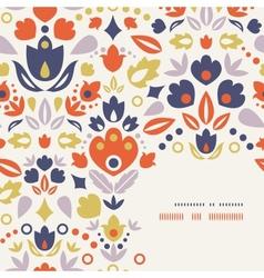 Ornamental folk tulips corner frame pattern vector
