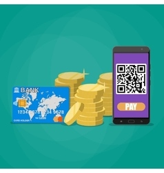 payments through bar code vector image