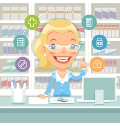 Pharmacist woman behind the counter vector
