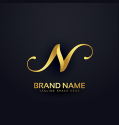 premium letter n logo design template with swirl vector image