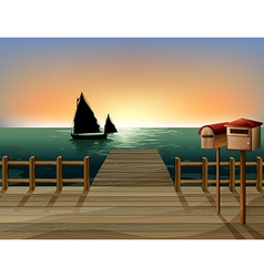 Seaside Dock View vector image vector image