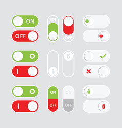 set of colorful toggle switch icons flat icon vector image