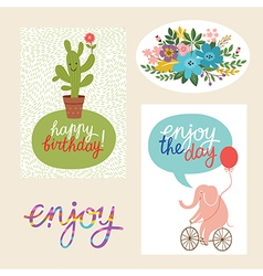 set of happy birthday design cards and graphic ele vector image