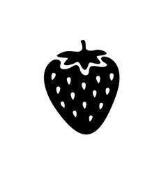 Strawberry simple black icon One color simple vector image vector image