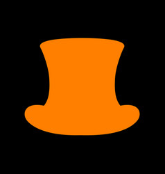 Top hat sign orange icon on black background old vector