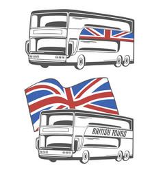 Tourist bus with union jack vector