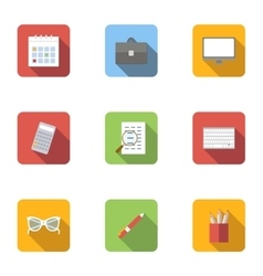 Work icons set flat style vector