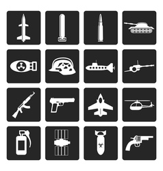 Black simple weapon arms and war icons vector